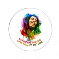 "A Round Fridge Magnet with Bob Marley image ""Live the Life you Love, Love the Life you Live"" delivered in a black organza bag."